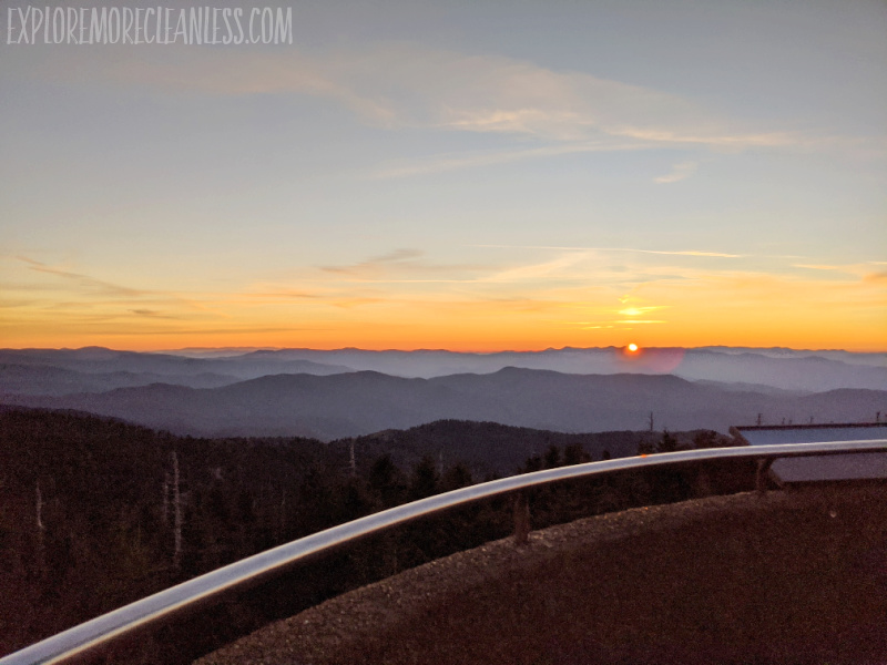 sunrise in fall from clingman's dome