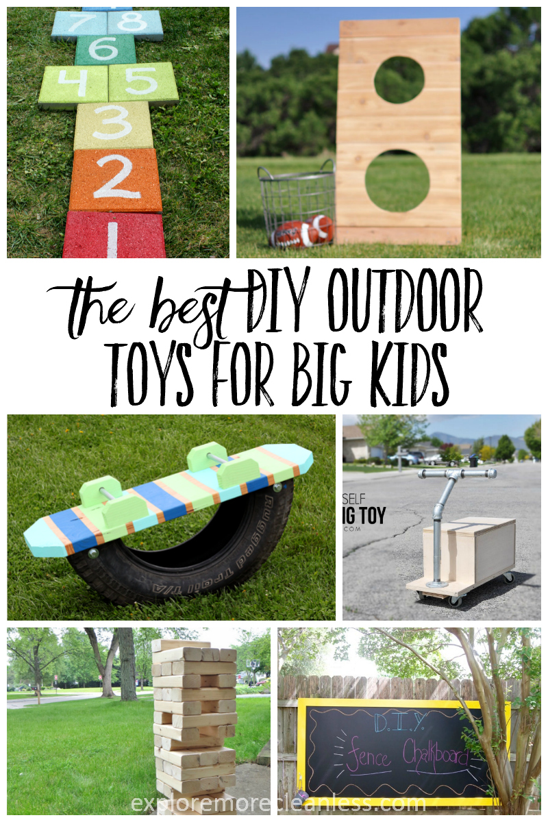 10 diy outdoor toys for kids- craft tutorials and free plans to build these fun toys for big kids. Keep your backyard fresh with these creative ideas! #diy #outdoors #crafts