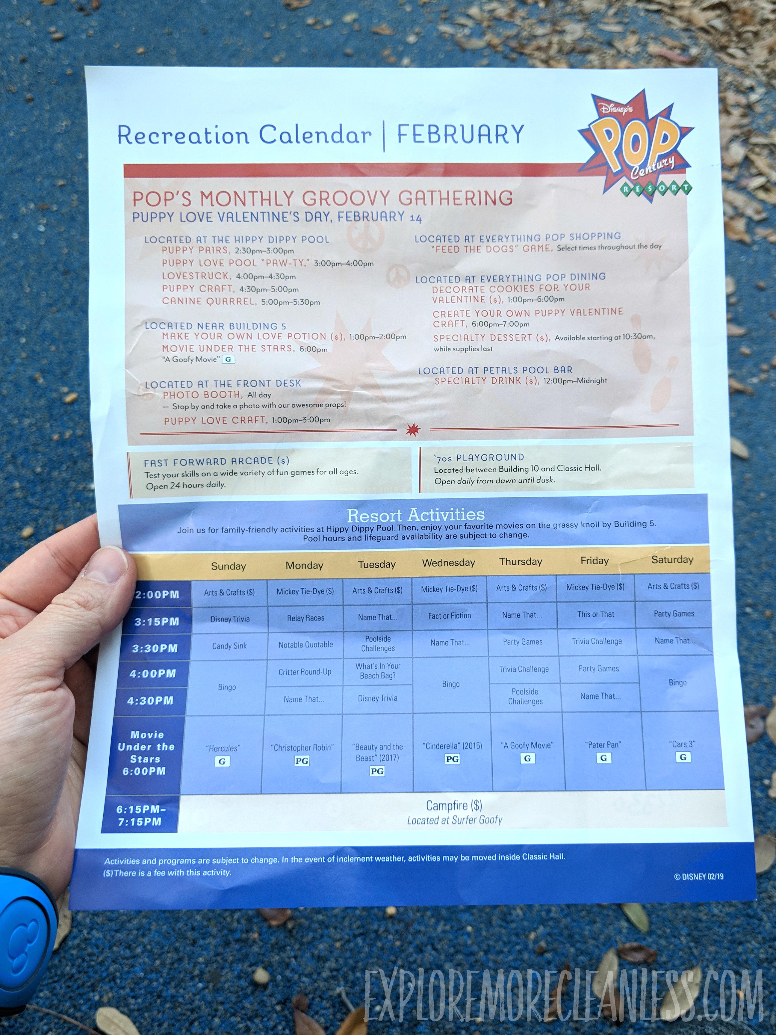 daily resort activities pop century flyer
