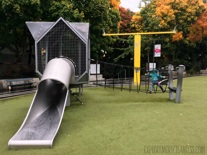 playground with view of space needle seattle