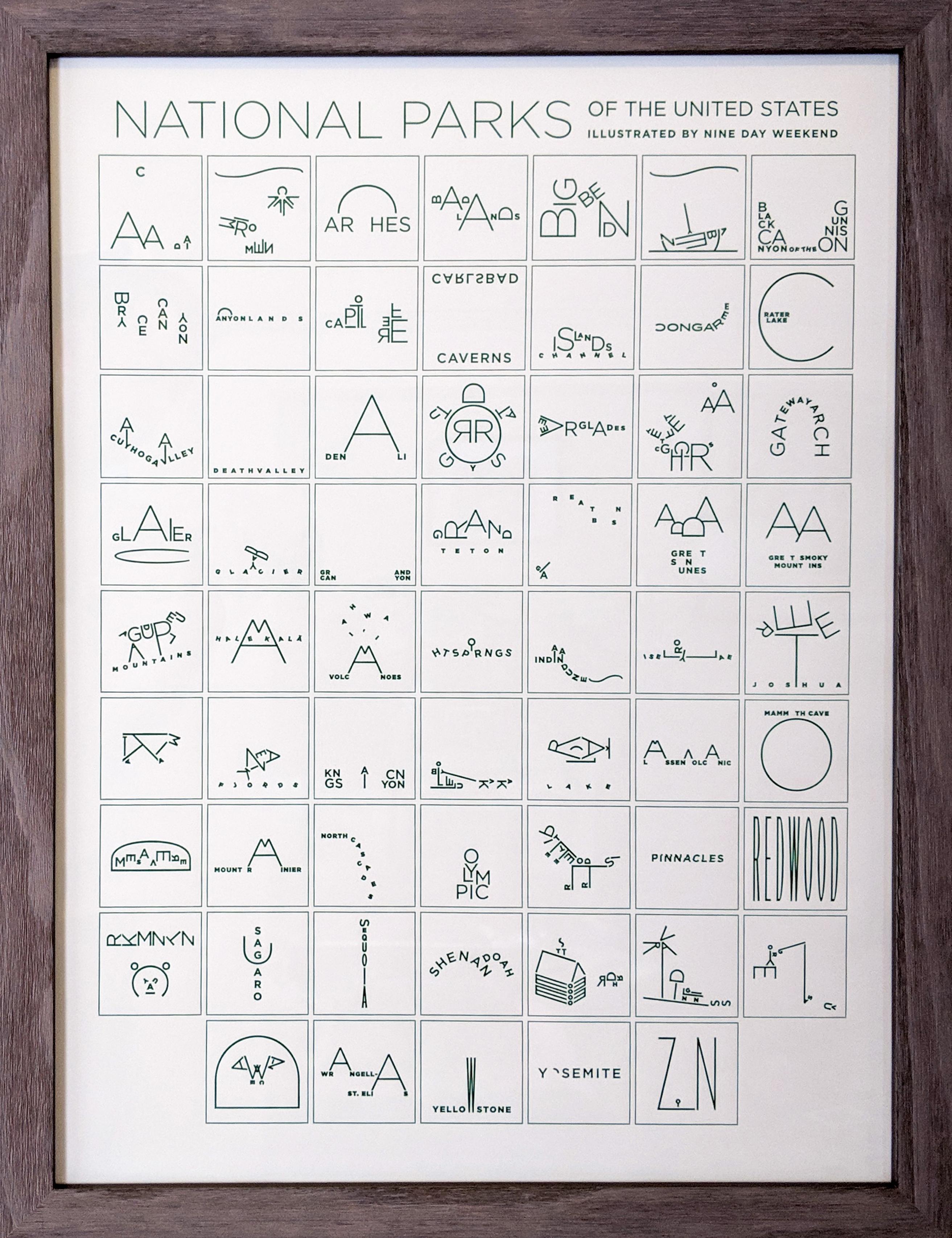 national park letterpress
