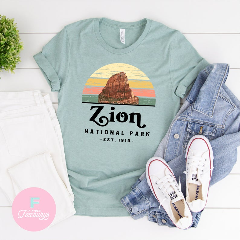 zion national park graphic tshirt retro style