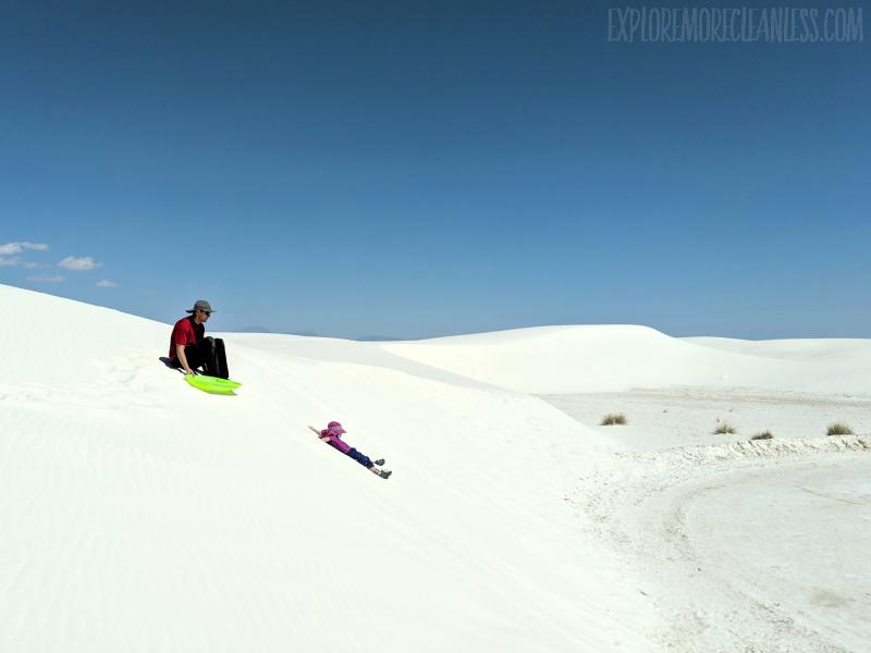 sleddin kids white sands national monument new mexico