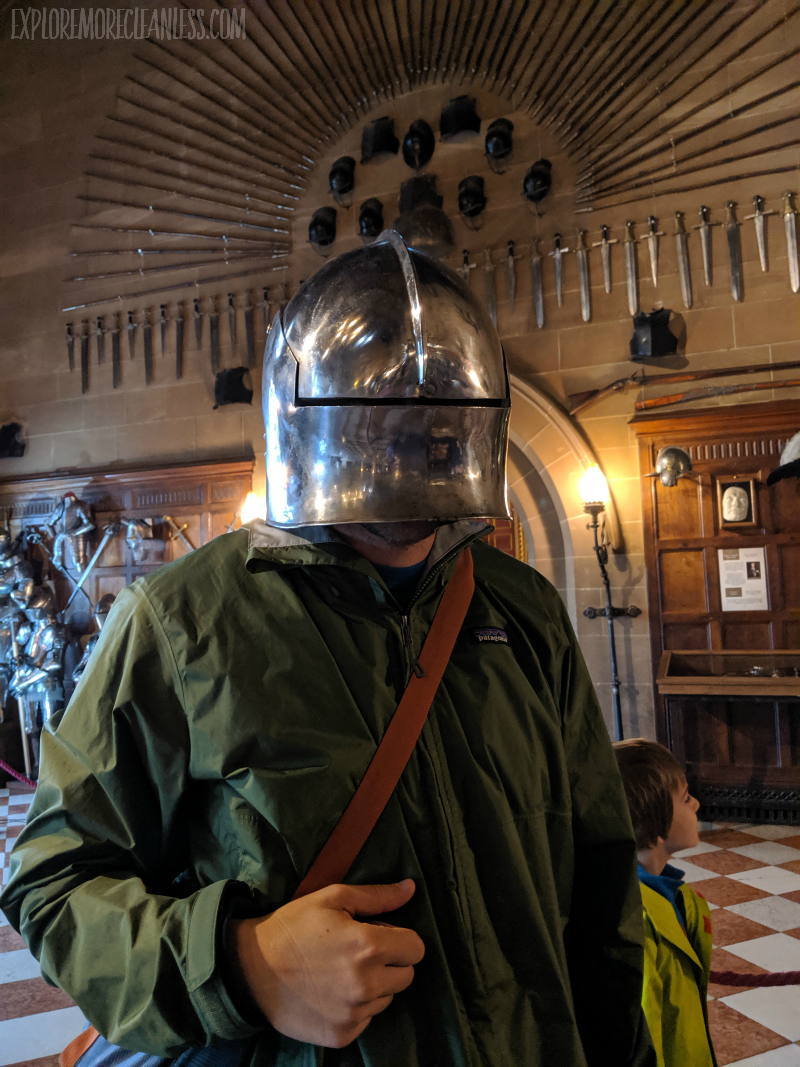 wearing helmet warwick castle